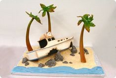 Gilligan's Island Cake made by Mike's Amazing Cakes Funny Grooms Cake, Funny Cake, Island Cake, Giligans Island, Boat Cake, Nautical Cake, Sculpted Cakes, Unique Cakes, Cake Tins
