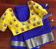 Embroidery Hand Beautiful blue color saree and sunshine yellow color designer blouse with butterfly design hand embroidery thread work. Pattu Saree Blouse Designs, Silk Saree Blouse Designs, Fancy Blouse Designs, Blouse Neck Designs, Latest Blouse Designs, Stylish Blouse Design, Hand Work Blouse Design, Latest Maggam Work Blouses, Maggam Work Designs