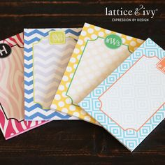 Cute colorful monogrammed stationery by Lattice & Ivy