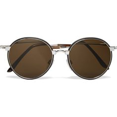 Cutler and Gross Round-Frame Leather-Trimmed Metal Sunglasses ($565) ❤ liked on Polyvore featuring men's fashion, men's accessories, men's eyewear, men's sunglasses, mens round frame sunglasses and mens round sunglasses