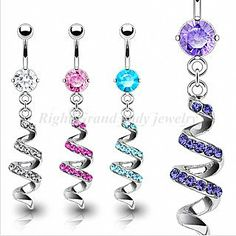 Sexy Belly Rings | ... Jewellery Belly Rings / Belly Button Ring With Multi Gemmed Swirl