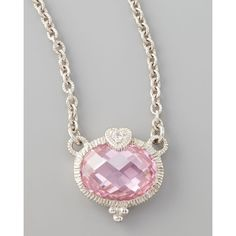 Judith Ripka Pink Heart Pendant Necklace ($200) ❤ liked on Polyvore