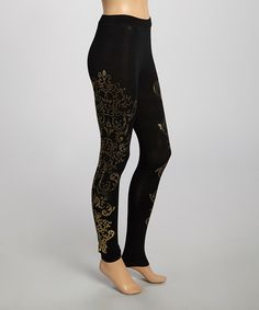 Look what I found on #zulily! Black & Gold Arabesque Leggings by Carapace #zulilyfinds