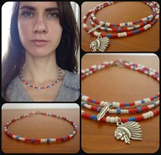 Handmade Beaded Necklace American Flag Red White Blue Native Looking Indian Chief Head Silver Feather DIY