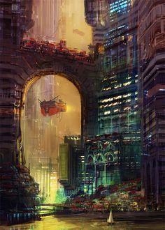 Red Velvet Voyages into the future Futuristic City Concept Art Conceptart Scifi Concepts Cyberpunk City, Arte Cyberpunk, Futuristic City, Fantasy City, Fantasy Places, Fantasy World, Digital Art Fantasy, Matte Painting, Science Fiction Art