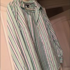 Tommy button up Brand new , worn one time . womens large . Tommy Hilfiger Tops Button Down Shirts