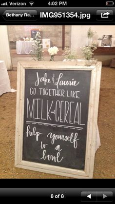 Cereal bar at Jake and Laurie's wedding!