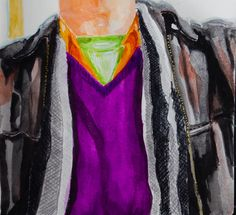 Watercolor, colored pencil, leather jacket, purple green and orange, scarf, sketch, sketchbook, NB orig.