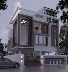 Amazing Ideas House Front Elevation Designs For Duplex Houses Bungalow House Design, House Front Design, Modern House Design, Front Elevation Designs, House Elevation, Building Elevation, Independent House, Bungalow Exterior, 3d Home
