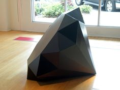 "Allen Leper Hampton, Big Black Diamond, made from an even larger black diamond (cardboard and paint), 48"" x 36"" x 36"""