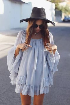 bohemian dress and hat