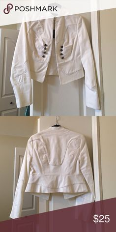 NWT Military style white jacket Military inspired white jacket. Clips in front. Never been worn, NWT! Bundle for a great discount! The Limited Jackets & Coats Utility Jackets