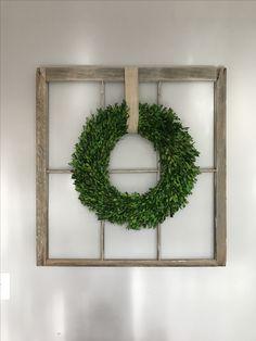 Antique window frame + target boxwood wreath
