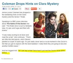 The thing that gets me the most is that she says there are things Moffat's been planing for years.