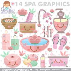 Spa Clipart, Spa Graphics, COMMERCIAL USE, Spa Clip Art, Kawaii Clipart, Planner Accessories, Spa Therapy