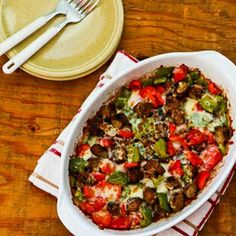 Low Carb No Egg Breakfast Bake with Turkey Breakfast Sausage and Peppers  [from Kalyn's Kitchen]