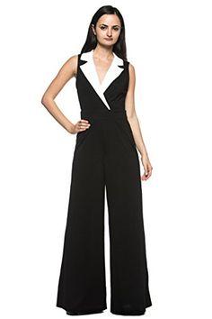 6cba908b585b Women s Black White Tuxedo Collar Lapel V Neck Wide Leg Pant Suit Work  Jumpsuit (Small)