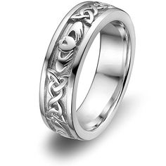 From design to final polish Claddagh Ring ULS-6344 is the PERFECT QUALITY claddagh wedding band ring featuring 6 trinity knots and 3 claddagh symbols. Sterling Silver Claddagh Wedding Ring made by ma...
