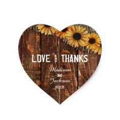 #customized - #Rustic Wood & Burlap Wedding Love & Thanks Favor Heart Sticker