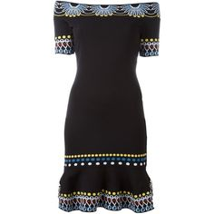 Peter Pilotto Off the Shoulder Knit Dress (20 815 UAH) ❤ liked on Polyvore featuring dresses, black, figure hugging dress, knit dress, peter pilotto dress, form fitted dresses and short sleeve dress