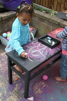 Magnetic chalkboard table