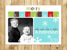Custom Digital Holiday Photo Card - Merry Christmas - Style 12