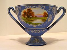 Antique nippon wedgewood style vase with handles