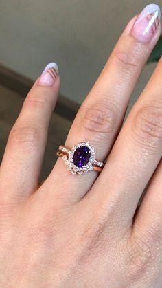 Purple Wedding Rings, Purple Engagement Rings, Wedding Ring Sets Unique, Vintage Inspired Engagement Rings, Antique Wedding Rings, Gemstone Engagement Rings, Diamond Wedding Bands, Vintage Rings, Amethyst Wedding Rings