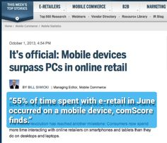 """Mobile devices surpass PCs in online retail."""