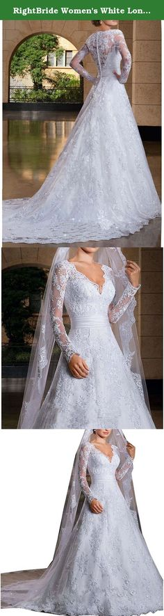 RightBride Women's White Long Sleeves Bridal Gowns Lace Mermaid V-Neck Wedding Dresses for Bride 2017 Size 8. RightBride Women's White Long Sleeves Bridal Gowns Lace Mermaid V-Neck Wedding Dresses for Bride 2017 Size 8 RightBride, Just as the store name indicates, is always dedicated to be the Right online shop on Amazon for wedding dresses for bride, So quality is our first priority. 1.With high quality fabrics, beads, pearls, crystals and threads, RightBride are always producing wedding...