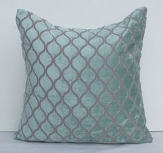 Decorative Velvet Throw Pillow Light blue Cushion by SophiesBazaar, $32.00
