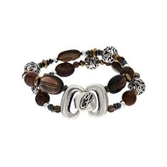 Carolyn Pollack Sterling Signature Bead & Smoky Quartz Bracelet ($85) ❤ liked on Polyvore