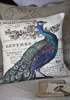 Pillow Cover...peacock pillow decorative cotton burlap pillows. $35.00, via Etsy.