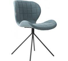 Polstret spisebordsstol i lækkert design og blåt stof - Gratis fragt