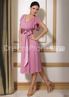 Fashionable Pleats Beaded A-Line V-Neck Short Sleeves Tea-Length Mother of the Bride Dresses