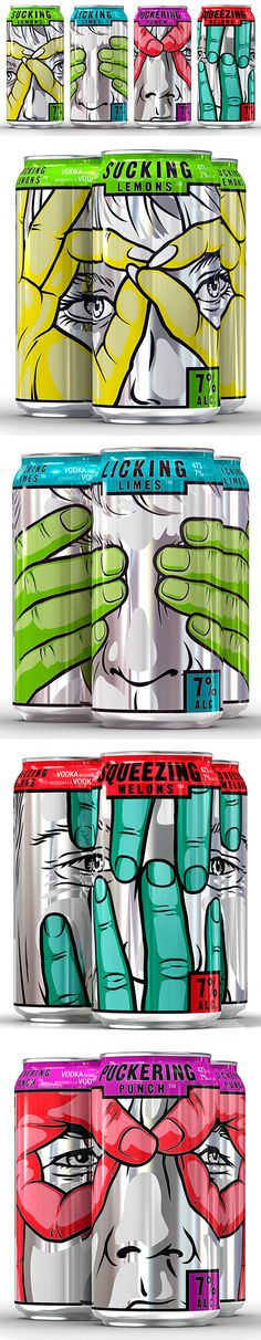 These are really interesting. I like the comic style the designer used. The colors compliment each other, and stands out against the white and grey. I also really like how the full picture comes out when you stack the cans a certain way against each other. Over all a really nice design.