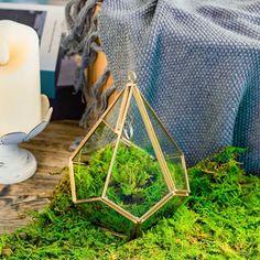 Handmade Hanging Teardrop Shape Gold Glass Geomtric image 0