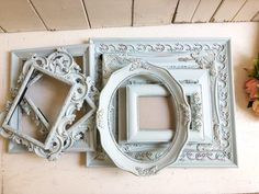 French Blue Vintage Frames, Dusty Blue Ornate Picture Frames, French Cottage Decor Painted Picture Frames, Ornate Picture Frames, French Cottage Decor, French Country Decorating, Shabby Chic Frames, Vintage Frames, Rustic French, French Country Style, French Walls