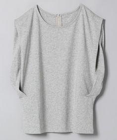 JEANASIS(ジーナシス)のショルダータックSS/723673 (Tシャツ/カットソー)|グレー                                                                                                                                                     もっと見る