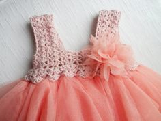 Baby Tulle Dress with Stretch Crochet Top. Flower от AylinkaShop, $50.00
