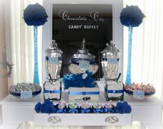 Vintage Vanity Candy Buffet. #candy table#candy bar#blue candy#wedding reception