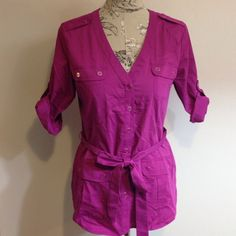 NY&Co Fuschia Button Down Top M Excellent condition. I don't even think it has been worn. New York & Company Tops Button Down Shirts