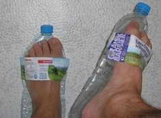 Who doesn't have a bunch of plastic bottles at home? Here's a good way to take advantage of them:    Just crunch the bottle flat and slip your feet in between the label and the flattened bottle.