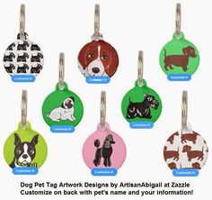 © Abigail Davidson, ArtisanAbigail at Zazzle -- Original dog art pet tag designs -- All pet tags can be customized with your pet's name and your phone number on the back!