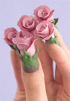 Pink + Green Rosebud Nails
