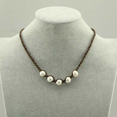 WYJ-S195 freshwater pearl necklace,natural large hole pearl necklace,white pearl necklace,genuine leather necklace,leather pearl necklace