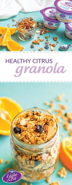 One bite of this tasty Healthy Citrus Granola recipe and you'll be convinced you've tasted the flavors of summer! To start your day, use Dannon® Single Serve Light & Fit® Vanilla Greek Yogurt to create the perfect creamy base for this easy orange-infused breakfast idea. And by picking up all the ingredients you need—as well as a variety of other delicious flavors of Dannon® Yogurt—at your local Walmart, you'll have endless fruit-filled morning dish inspiration!