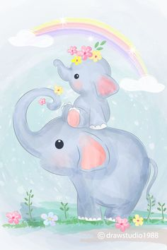 Discover the best Vectors, Photos & PSD files from - Free Graphic Resources for personal and commercial use Baby Elephant Nursery, Elephant Art, Cute Elephant, Cute Animal Illustration, Cute Animal Drawings, Cute Drawings, Nursery Canvas, Nursery Art, Baby Drawing