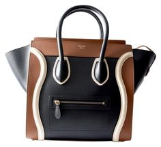 Celine Mini Luggage Handbag Black, White, Brown Satchel.