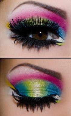 12 fantastic neon make-up looks - Eye Makeup 80s Eye Makeup, Colorful Eye Makeup, Colorful Eyeshadow, Beauty Makeup, Hair Makeup, Witch Makeup, Clown Makeup, Skull Makeup, Makeup Style